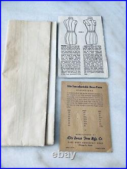 1950 1960s Old Vintage Rite Dress Form Full Scale Pattern Making Mannequin Sewin