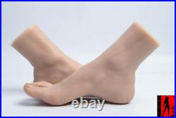 1 Pair Life-Size FFemale Feet Model Mannequin Silicone Foot Model Blood Vessel