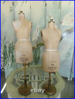 2 Vintage Bauman Miniature Half Scale Dress Forms, Great Table Fare
