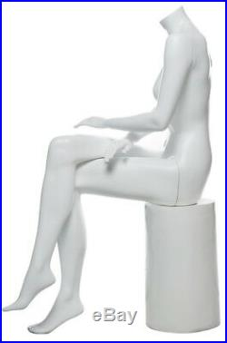 44 in H Seat Female Headless Mannequin Matte White New Style Mannequin STW049WT