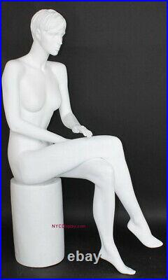 4 ft 6 in Female Sitting Mannequin Feature Face Sculptured Hair White SFW9WT