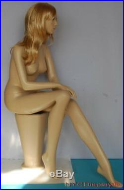 4 ft Female Sitting Mannequin Skintone Face Make up Bald Head Blond Wig SFW42FT