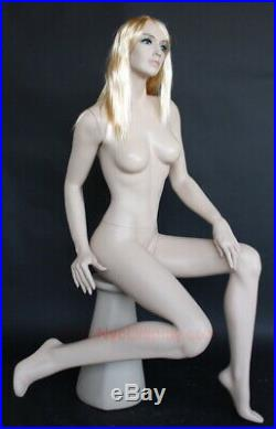 4 ft Sitting Female Mannequin Skintone Face Make up Bald Head Blond Wig SFS-84FT