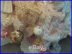 5FT. SHABBY CHRISTMAS PINK ANGEL DRESS FORM MANNEQUIN TREE With 40 ORNAMENTS &LGTS