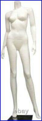 5' 4 Tall, White Fiberglass Matte Female Mannequin Headless Style (sk11)