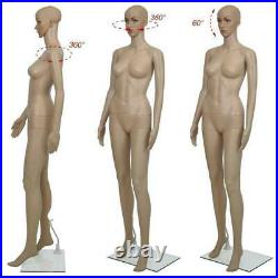 5.7FT Female Mannequin Plastic Realistic Display Head Turn Full Body Form withBase