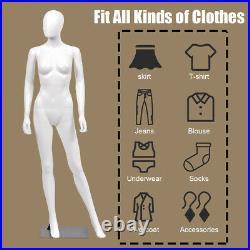 5.8 FT Female Mannequin Egghead Plastic Full Body Dress Form Display withBase New