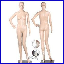 5.8 FT Female Mannequin Plastic Full Body Head Turns Dress Form Display with Base