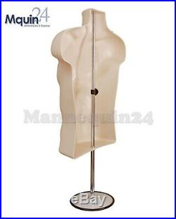 5 Pack Flesh Mannequin Male Torso Dress Forms + 5 Table Top Stands + 5 Hangers