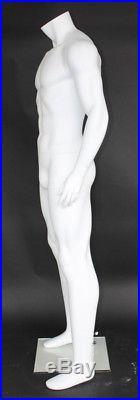 5 ft 9 in Male Athletic Headless Mannequin, Muscular Body Matte White STM052WT