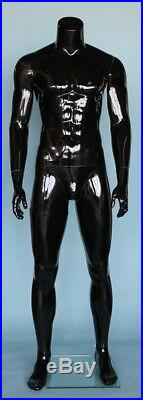 5 ft 9 in Tall Male Headless Mannequin Muscualr Body Shape Glossy Black STM051HB