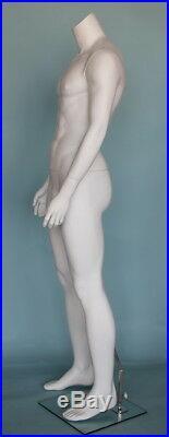 5 ft 9 in Tall Male Headless Mannequin, Muscular Body Matte White STM051WT- NEW