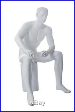 5 ft H Male Seated Mannequin White colored with Face Features M/L size, SFM54-WT