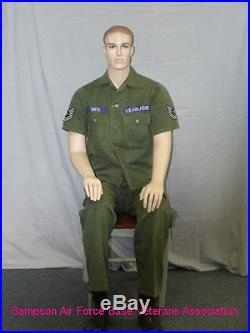5 ft Male Seated Mannequin Skintone with Face Makeup S/M size WWII uniform SFM74