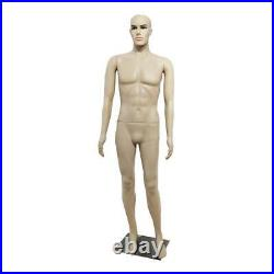 6FT Male Full Body Realistic Mannequin Head Turns Dress Form + Base