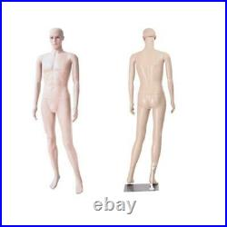 6FT Male Mannequin Full Size Realistic Display Man Clothes Form Plastic with Base