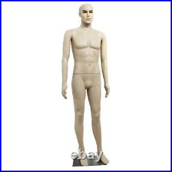6FT Manequin Full Body Male Plastic Realistic Display Head Turn Standing /w Base