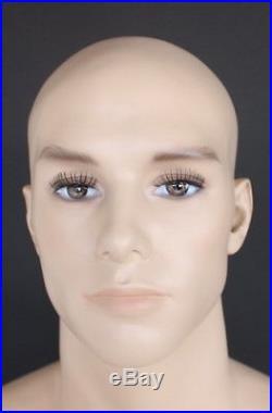 6'3 tall Male Muscular Body Fullsize Mannequin Skintone Makeup M796FT, 40/31/40