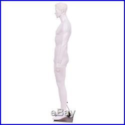 6 FT Male Mannequin Plastic Full Body Dress Form Display with Base White New