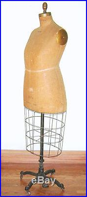 Antique Wolf Dress Form 1934 Vintage Mannequin Steampunk Cage Iron Stand USA
