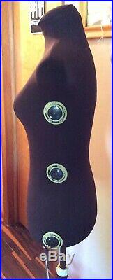 ATHENA ADJUSTABLE TORSO fabric covered DRESS FORM on a STAND Vintage