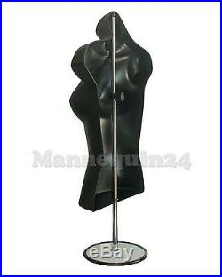 A LOT OF 5 BLACK FEMALE TORSO MANNEQUINS with5 STANDS +5 HANGERS WOMAN CLOTHINGS