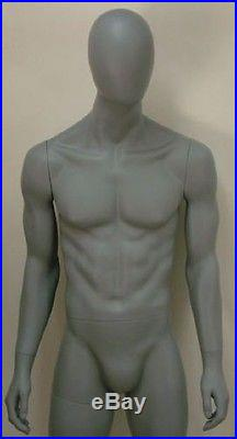 Abstract Male Mannequin, Matte Grey, Egghead Style, Made of Fiberglass (m10ag)
