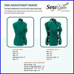 Adjustable Dress Form For Sewing Full Figure Female Mannequin Torso Base Medium