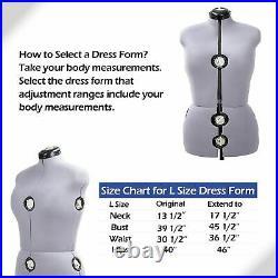 Adjustable Dress Form Large 13 Dials Sewing Female Mannequin Torso Grey Stand L