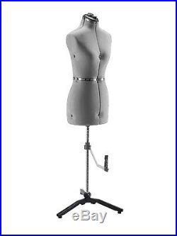 Adjustable Mannequin Dress Form Female With New Base Gray