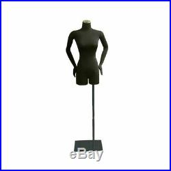 Adult Female Black Pinnable 3/4 Dress Form Mannequin Torso with Flexible Arms
