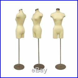 Adult Female Dress Form Mannequin Off White Torso 3/4 Body with Round Metal Base
