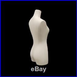 Adult Female Linen White Cover 3/4 Pinnable Dress Form Mannequin Torso with Base