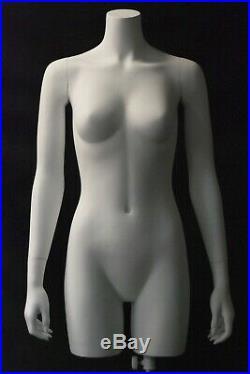 Adult Female Matte White Fiberglass 3/4 Headless Torso Mannequin with Base