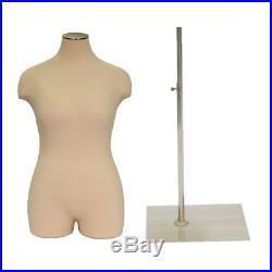 Adult Female Plus Size Half Body Mannequin 3/4 Dress Form Pinnable Torso