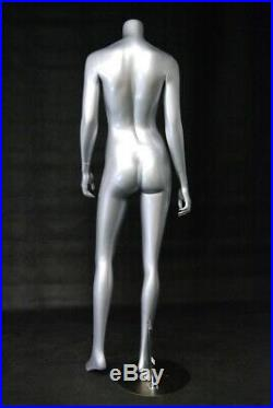 Adult Headless Standing Female Glossy Silver Fiberglass Mannequin with Base