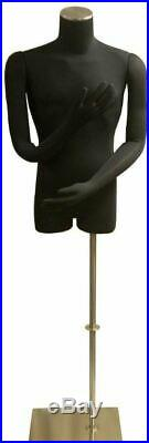 Adult Male Black Pinnable Dress Form Mannequin Torso with Flexible Arms and Base