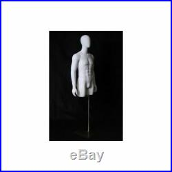 Adult Male Egg Head Matte White Mannequin Torso Display with Thighs