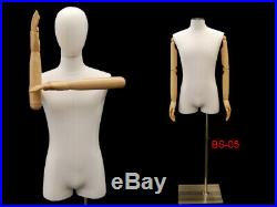Adult Male White Linen 3/4 Torso Mannequin Form with Flexible Arms and Head