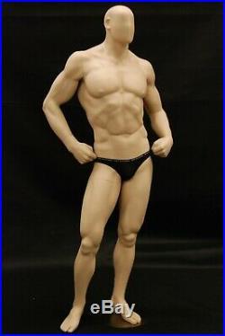 Adult Men's Fitness Muscular Body Builder Fiberglass Fleshtone Mannequin