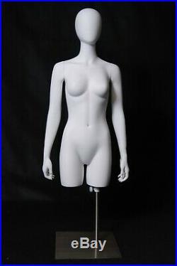 Adult Women's 3/4 Body Torso Matte White Fiberglass Egg Head Mannequin Display
