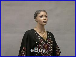 African American Female Full Body Realistic Mannequin with Molded Hair