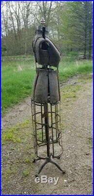 Antique 1909 Taylor Sewing Dress Form Adjustable Mannequin Dummy Metal Skirt