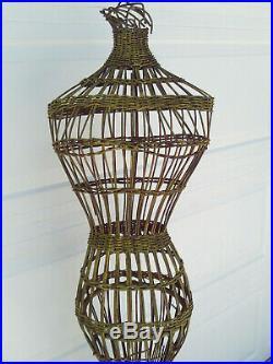 Antique 50s Wicker Dress Form Mannequin