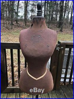 Antique Dress Form Mannequin Wasp Waist Cast Iron Base on Casters