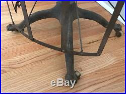 Antique Dress Form with Metal Cage Bottom & Wooden Casters