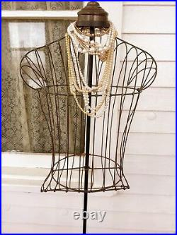 Antique Edwardian MANNEQUIN Dress Form Store Display Caged Wire With Bustle