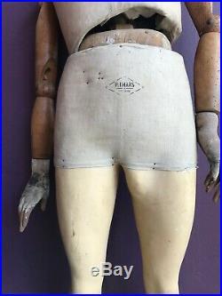 Antique French Mannequin Dressform Male, Stamped P. Imans Paris, 1920s