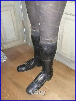 Antique French Napoleon 3 Dressform mannequin with wooden legs, marked Stockman
