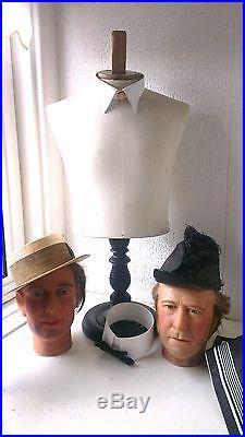 Antique French STOCKMAN Paris, table dressform, counter top bust, mannequin
